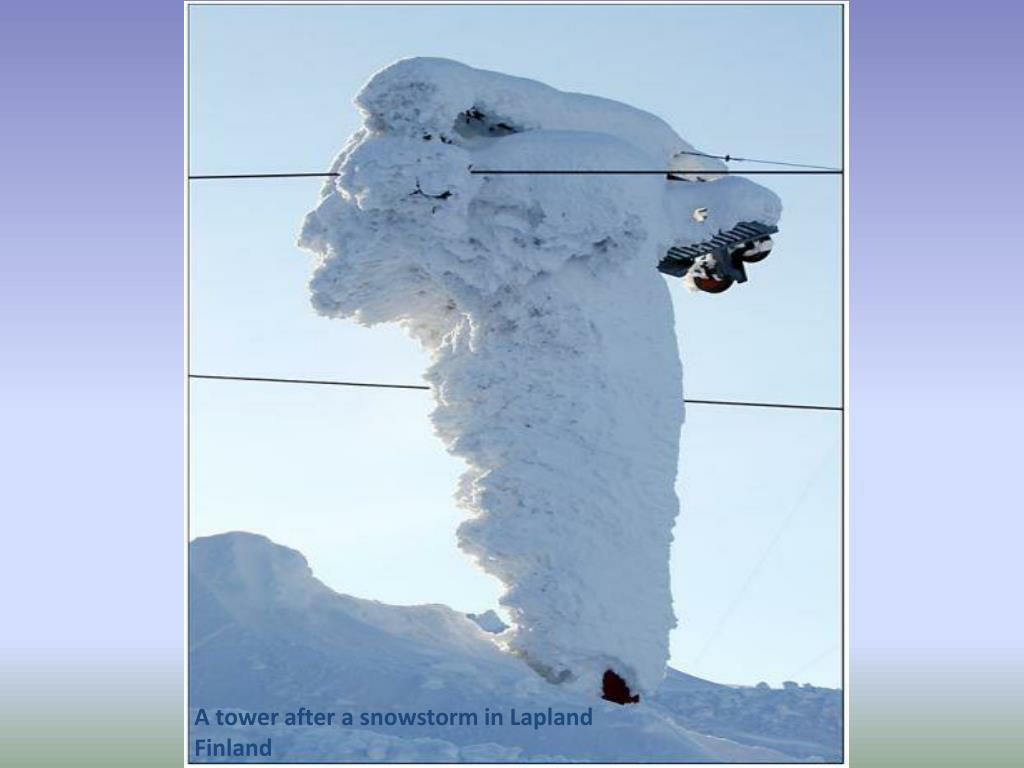 A tower after a snowstorm in Lapland