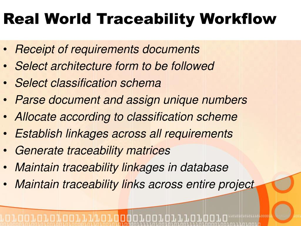Real World Traceability Workflow