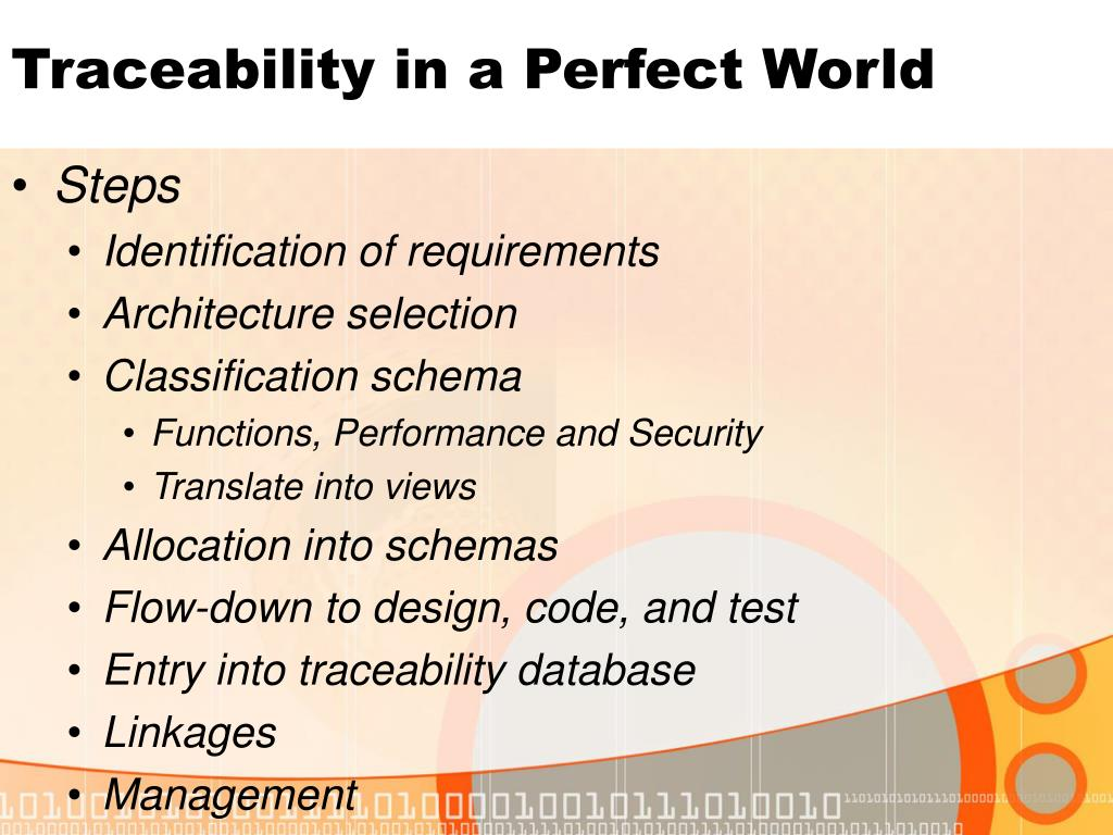 Traceability in a Perfect World