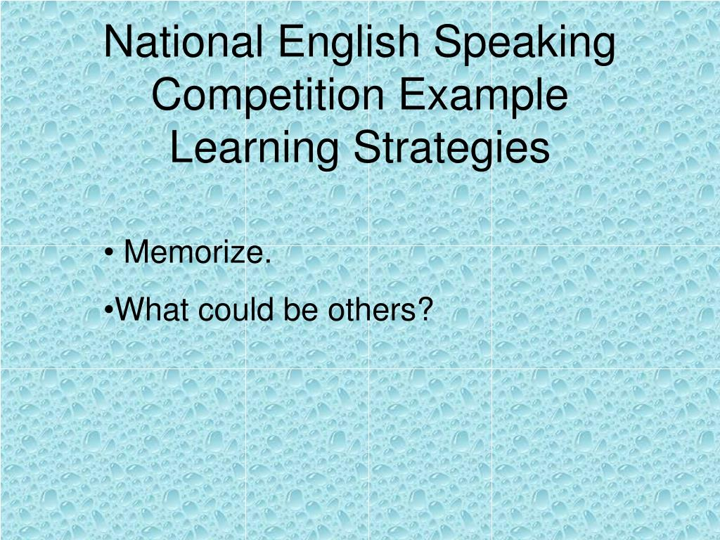 National English Speaking Competition Example