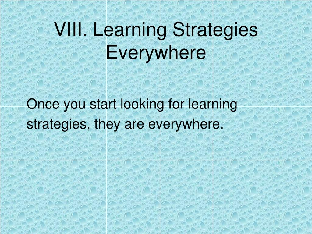 VIII. Learning Strategies Everywhere