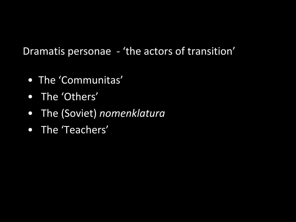 Dramatis personae  - '
