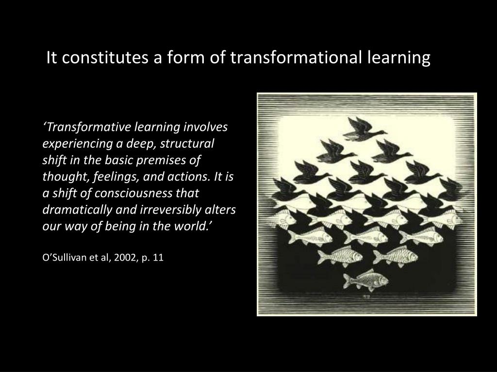 It constitutes a form of transformational learning