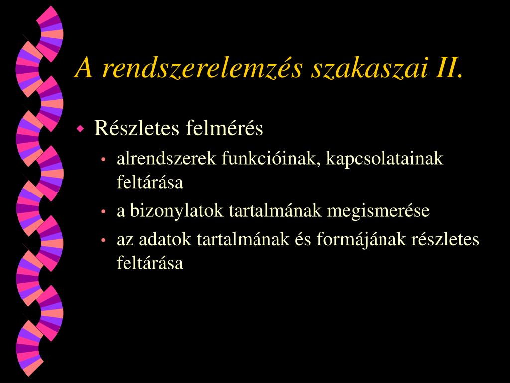 A rendszerelemzés szakaszai II.