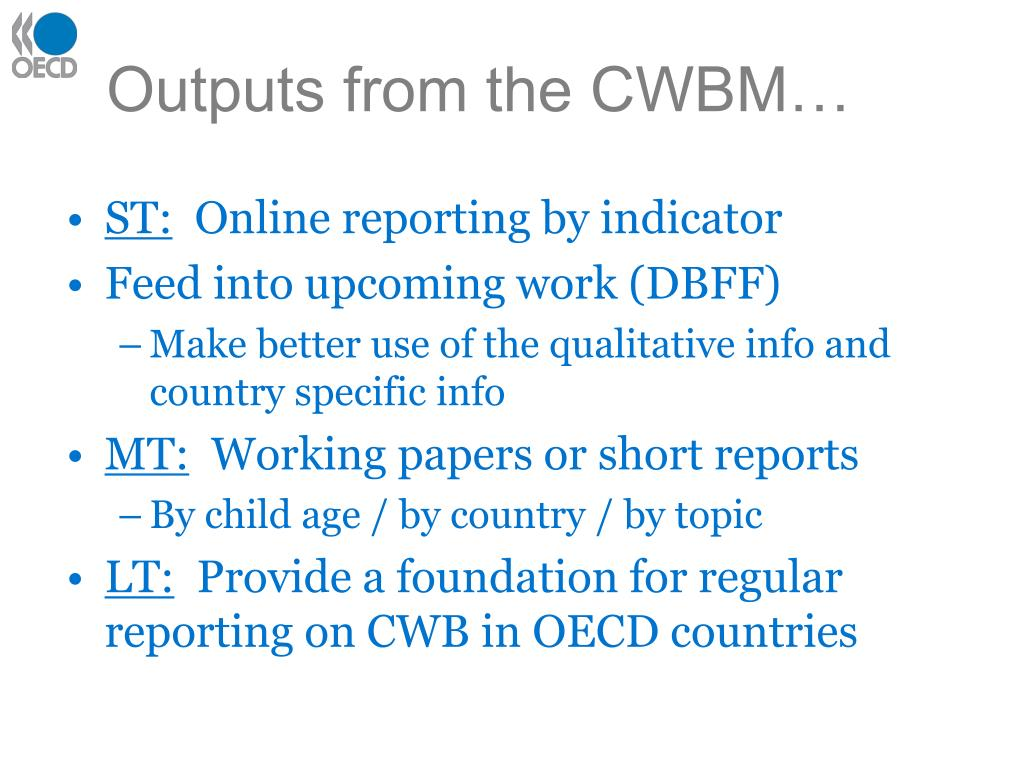 Outputs from the CWBM…