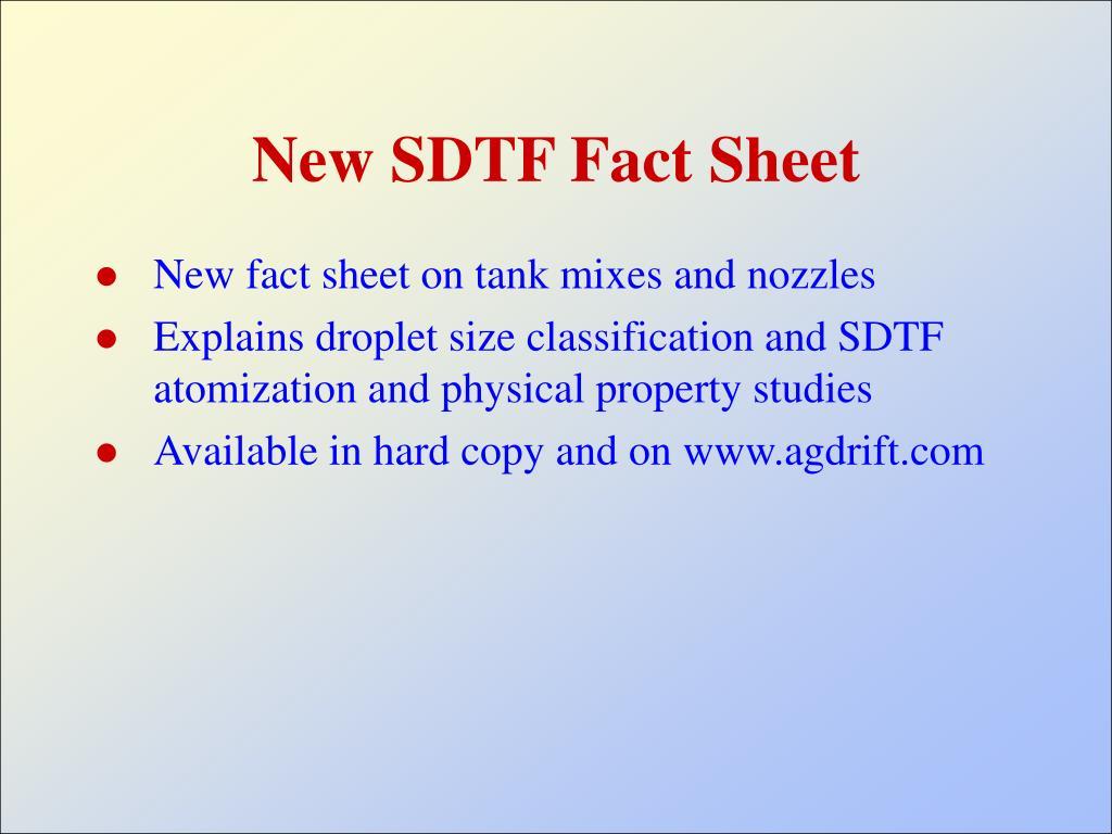 New SDTF Fact Sheet