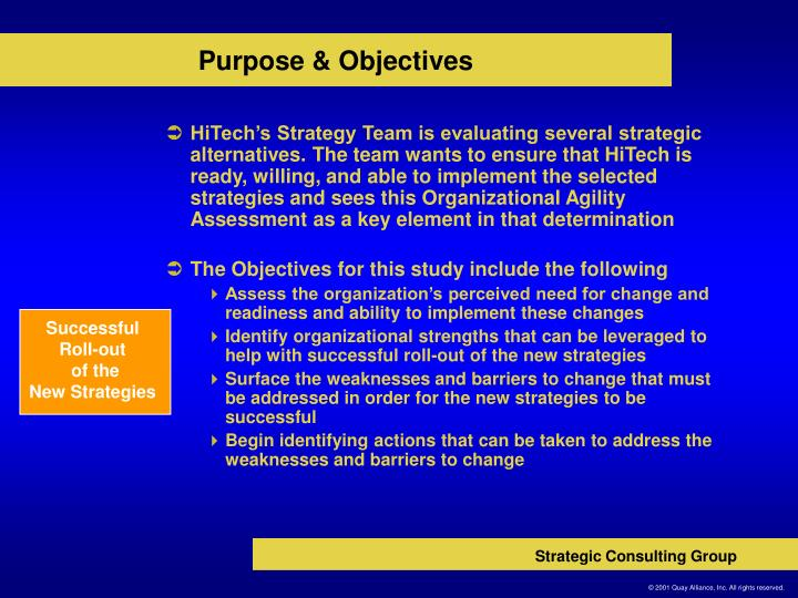 Purpose objectives