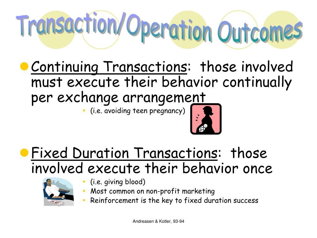 Transaction/Operation Outcomes
