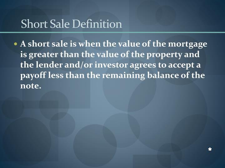 Short Sale Definition