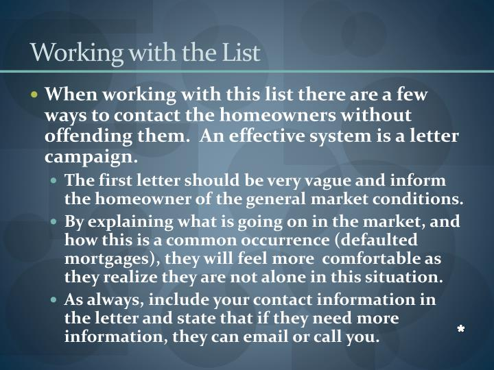 Working with the List