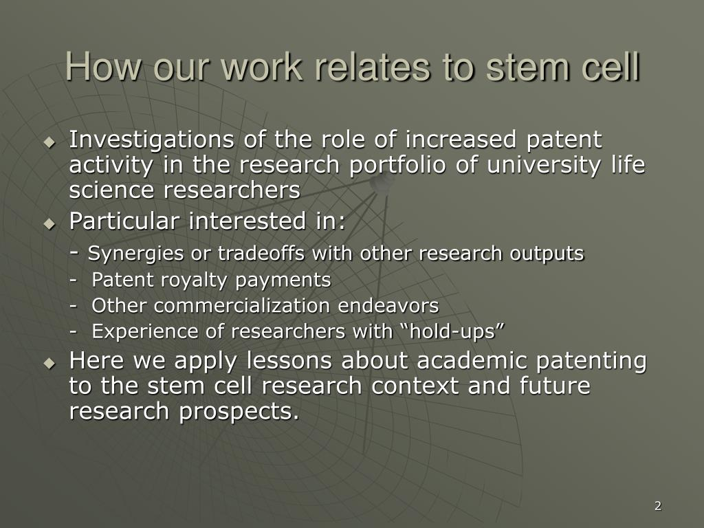 How our work relates to stem cell