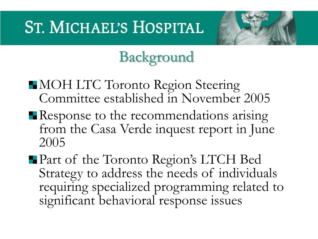 MOH LTC Toronto Region Steering Committee established in November 2005