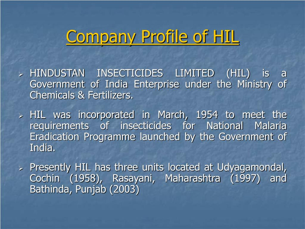 Company Profile of HIL