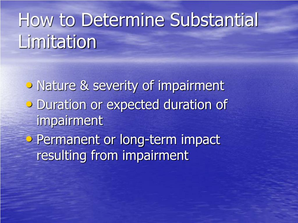How to Determine Substantial Limitation