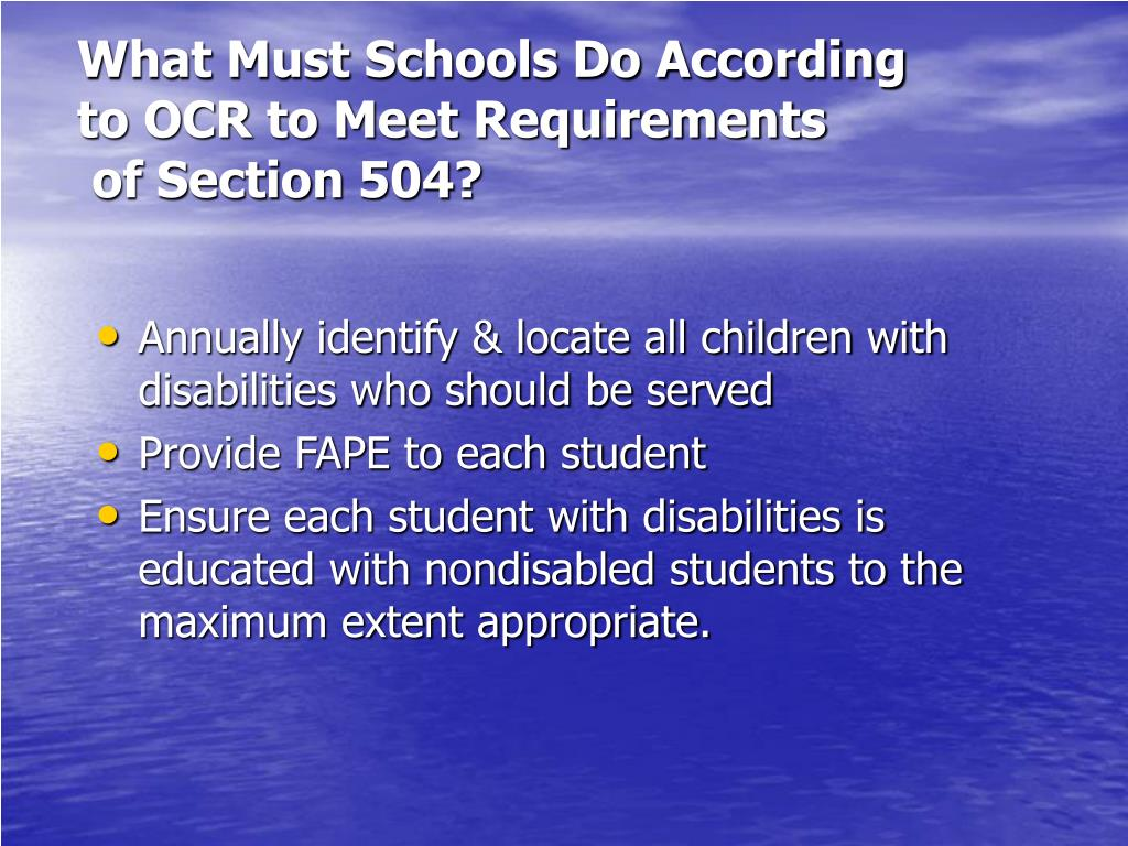 What Must Schools Do According to OCR to Meet Requirements