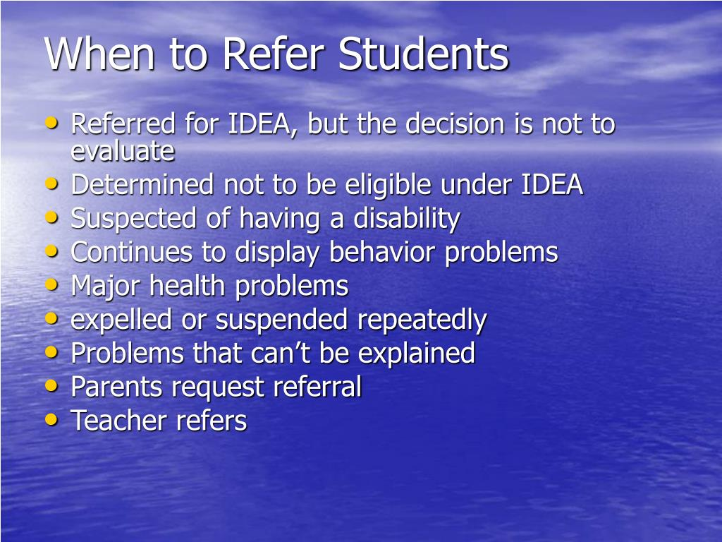 When to Refer Students