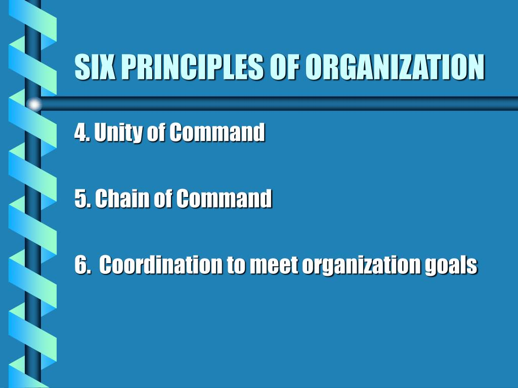 SIX PRINCIPLES OF ORGANIZATION