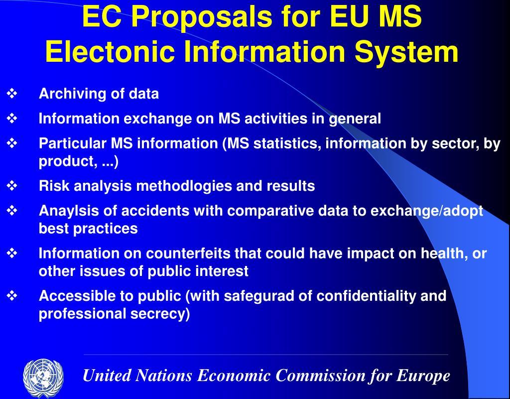 EC Proposals for EU MS Electonic Information System