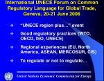 international unece forum on common regulatory language for global trade geneva 20 21 june 2006
