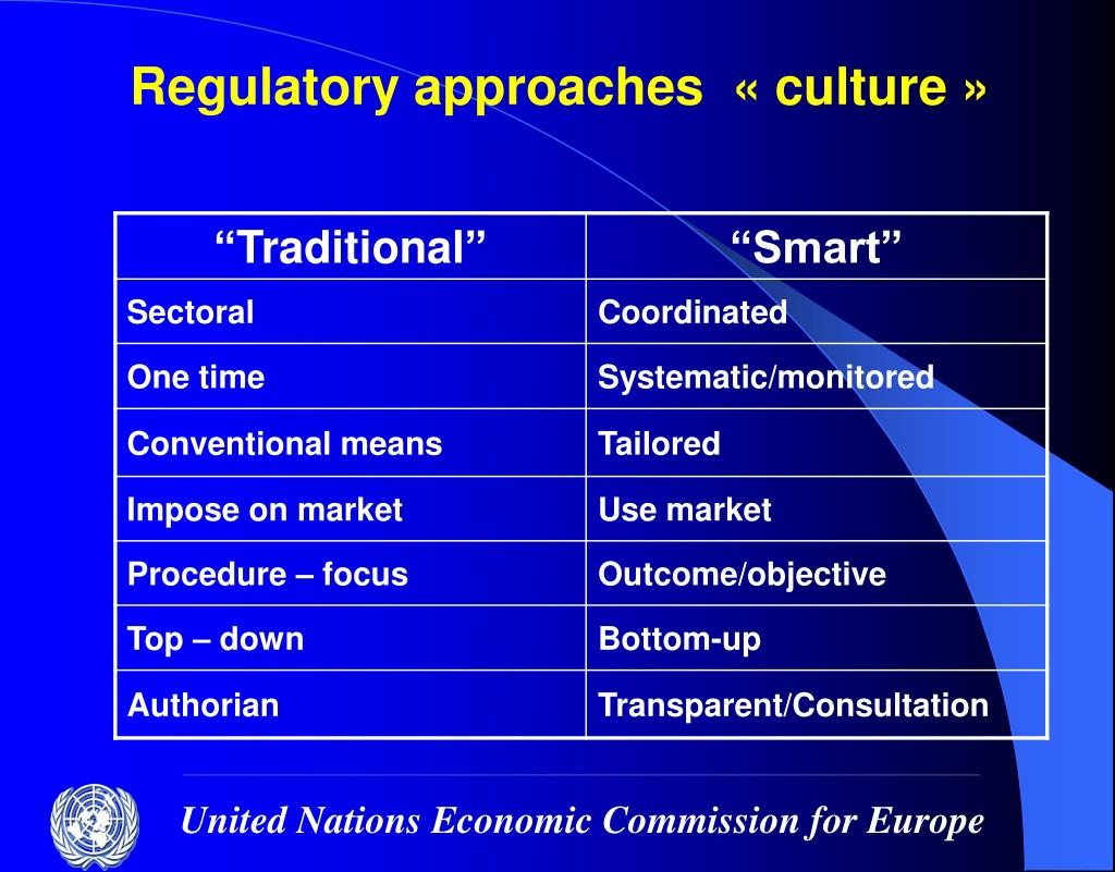 Regulatory approaches  « culture »
