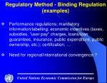 regulatory method binding regulation examples