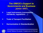 the unece s support to governments and business since 1947