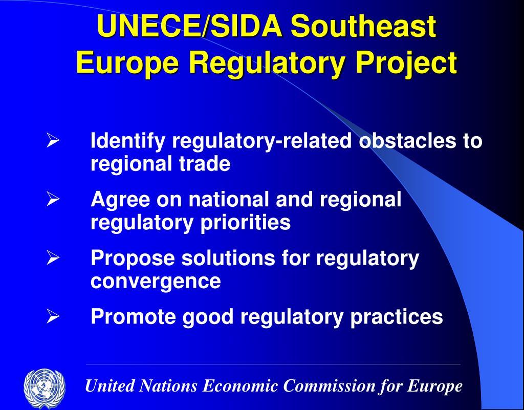 UNECE/SIDA Southeast Europe Regulatory Project