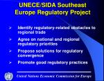 unece sida southeast europe regulatory project