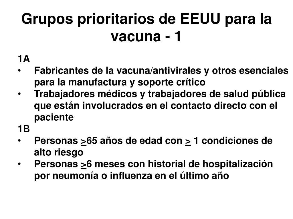 Grupos prioritarios de EEUU para la vacuna - 1