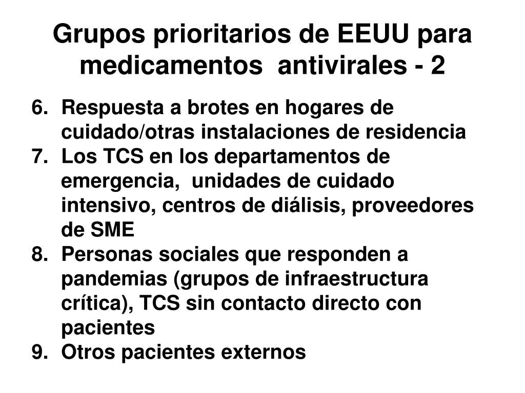 Grupos prioritarios de EEUU para medicamentos  antivirales - 2
