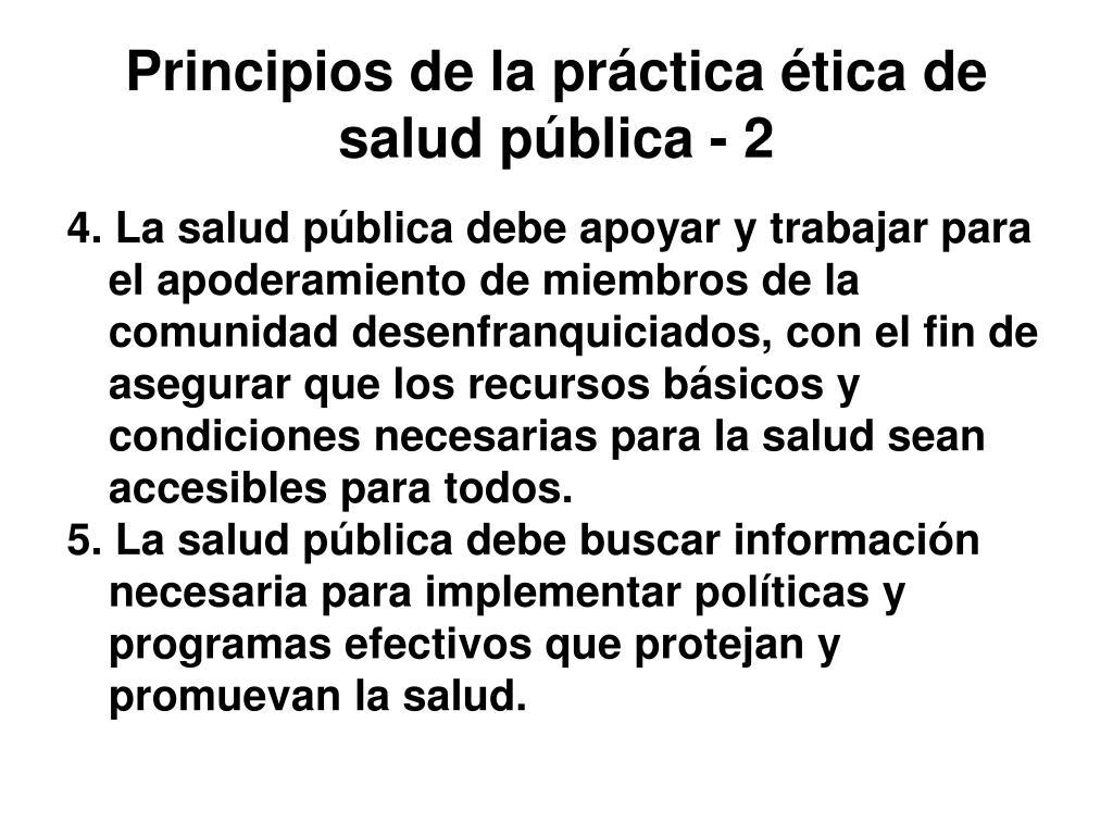 Principios de la práctica ética de salud pública - 2