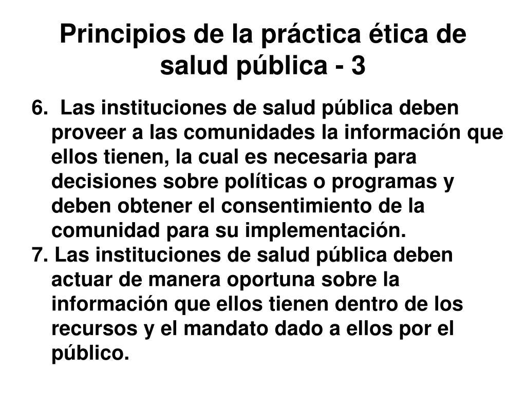 Principios de la práctica ética de salud pública - 3