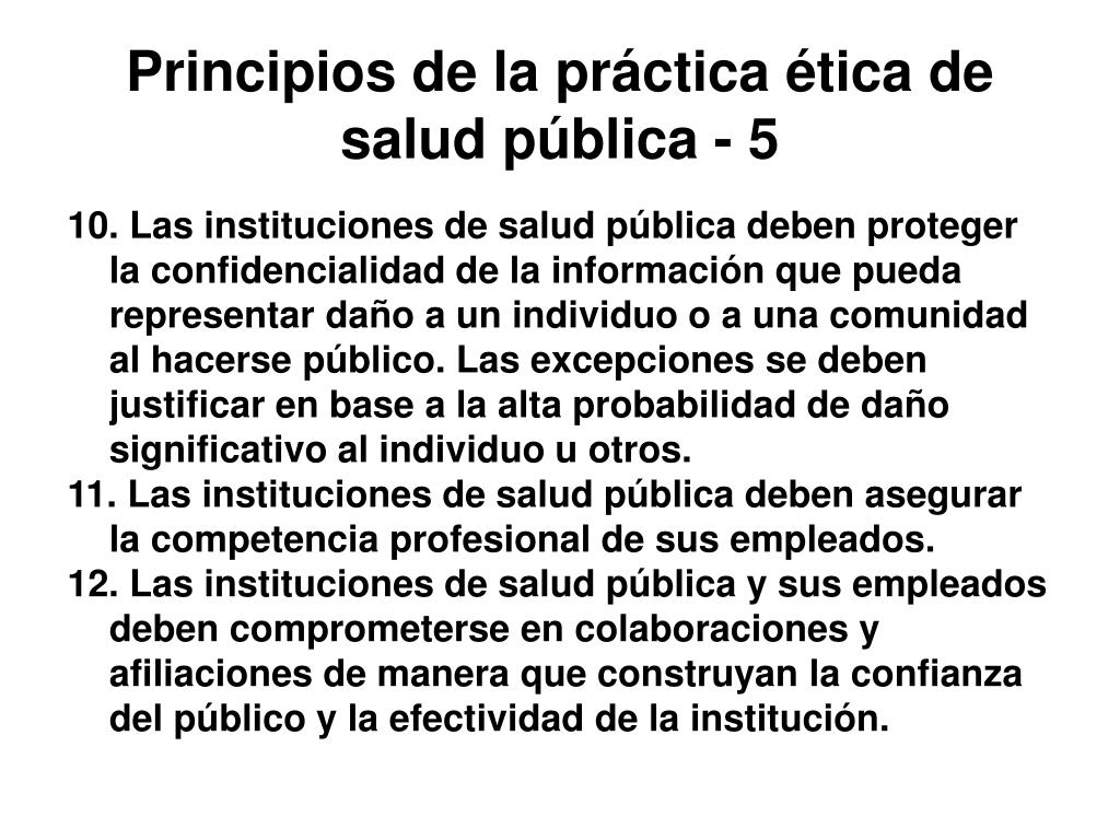 Principios de la práctica ética de salud pública - 5