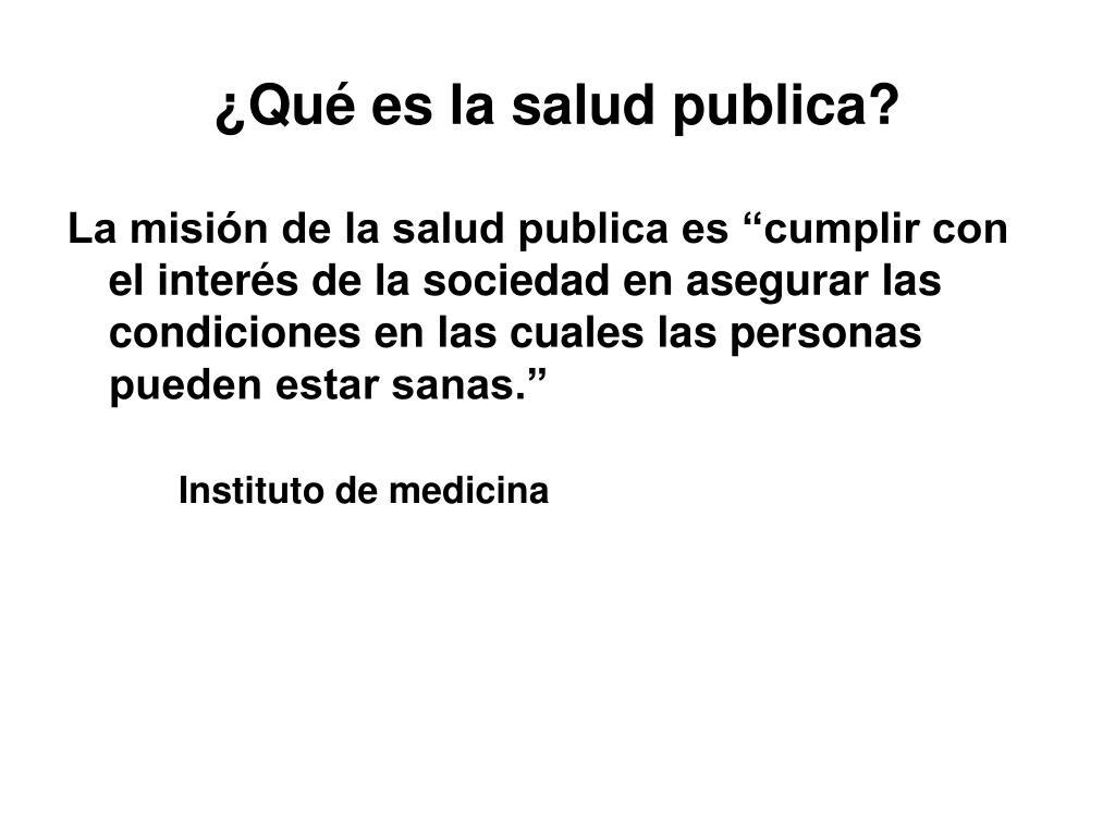 ¿Qué es la salud publica?