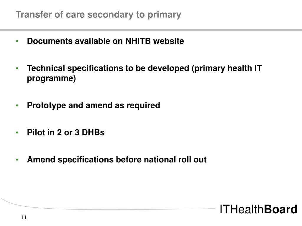 Transfer of care secondary to primary