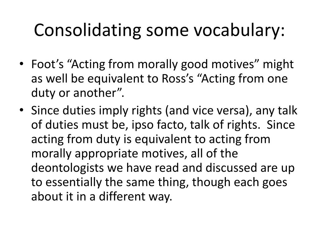 Consolidating some vocabulary: