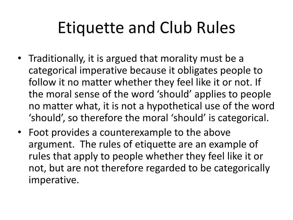 Etiquette and Club Rules