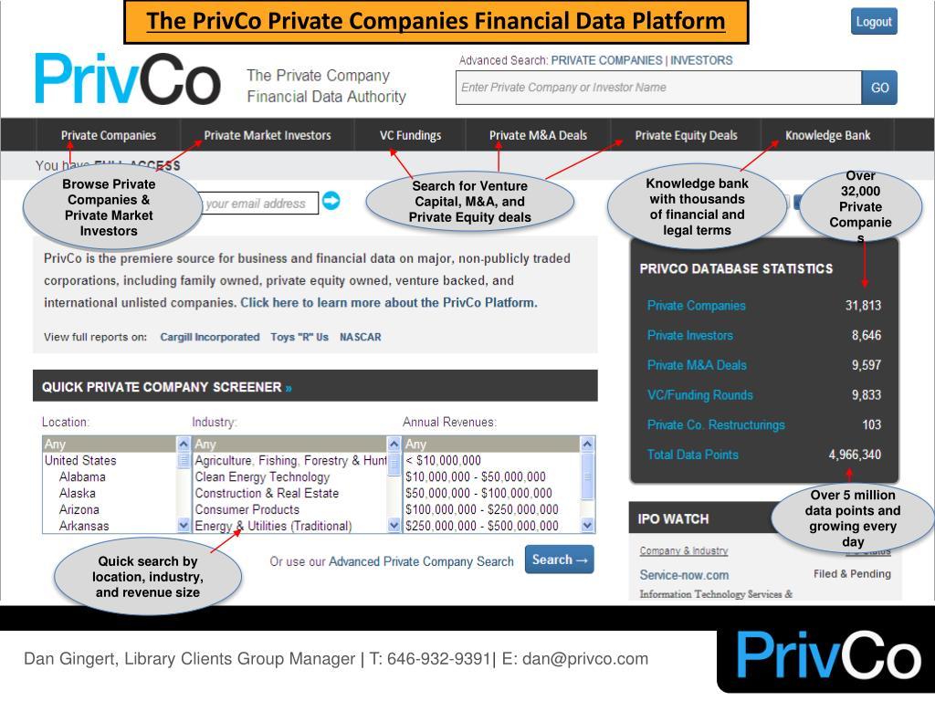 The PrivCo Private Companies Financial Data Platform