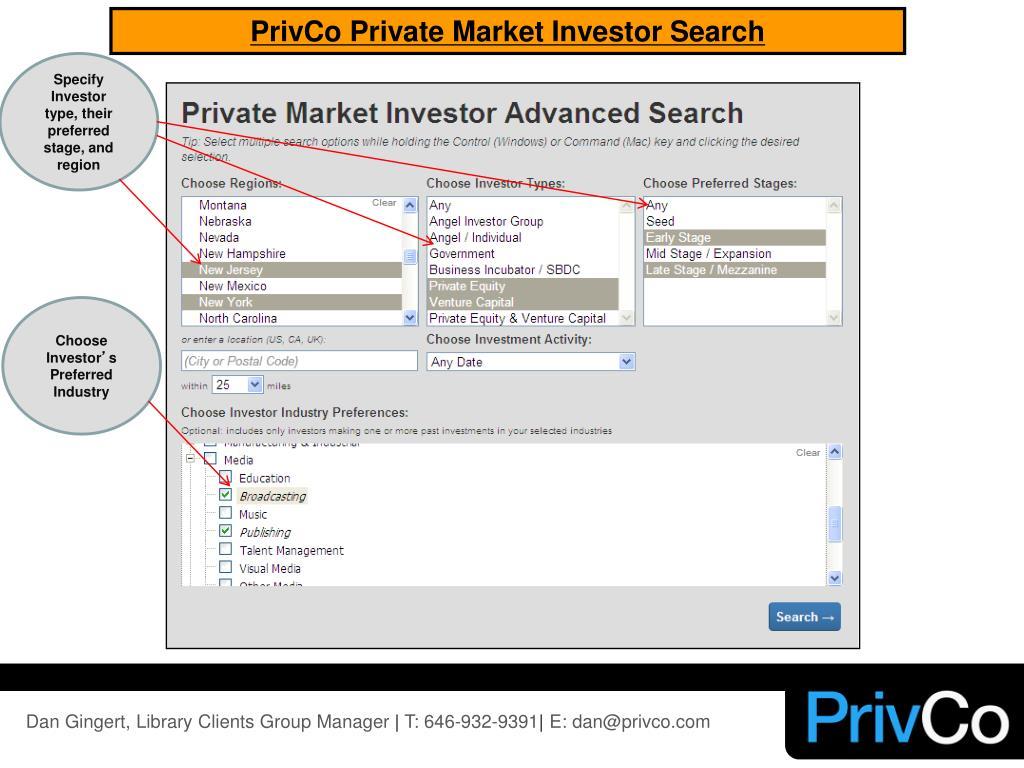 PrivCo Private Market Investor Search