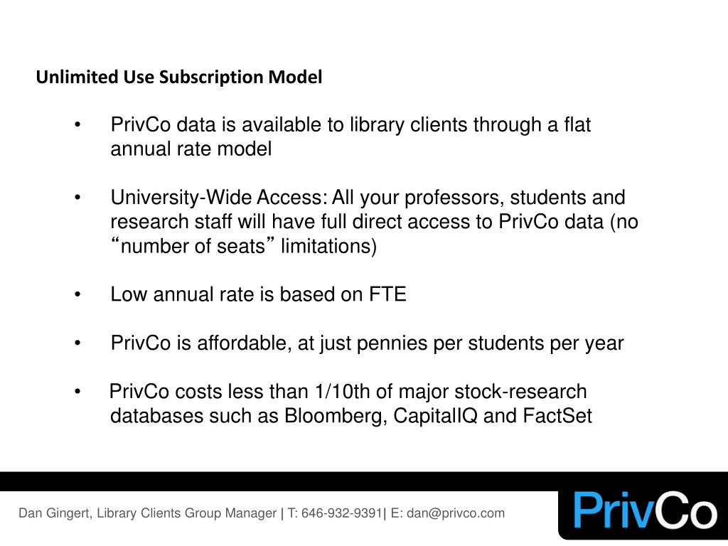 Unlimited Use Subscription Model