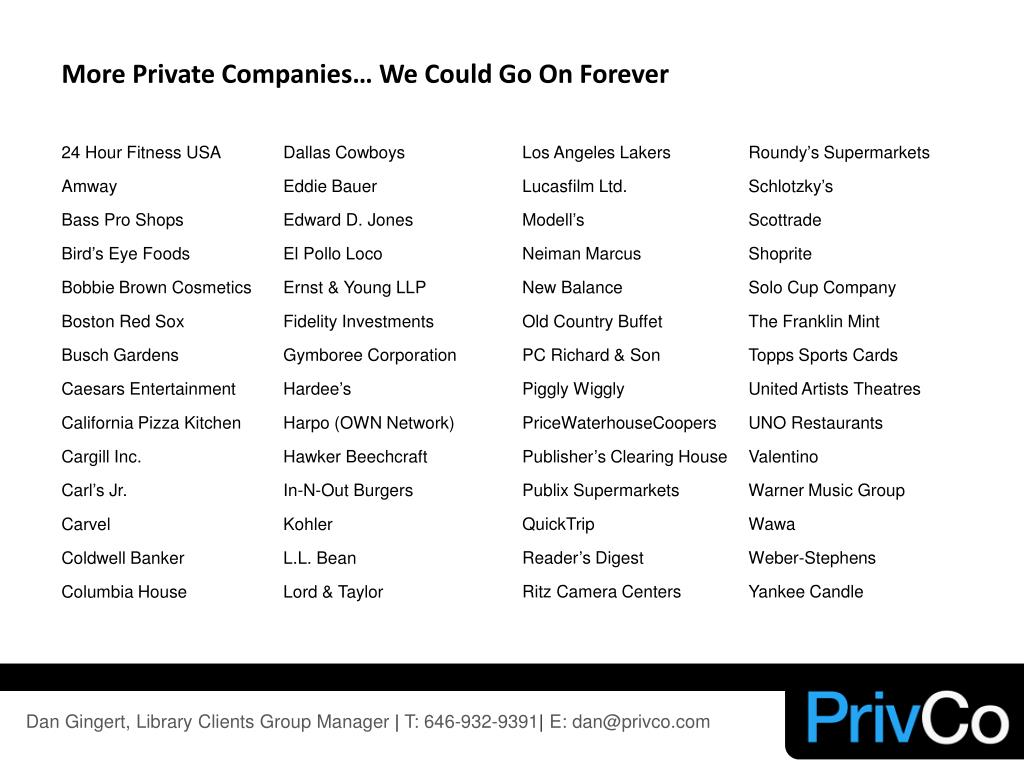 More Private Companies… We Could Go On Forever