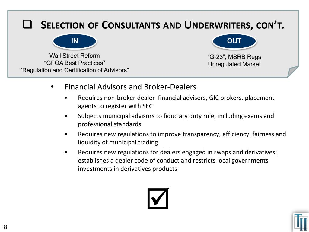 Selection of Consultants and Underwriters,
