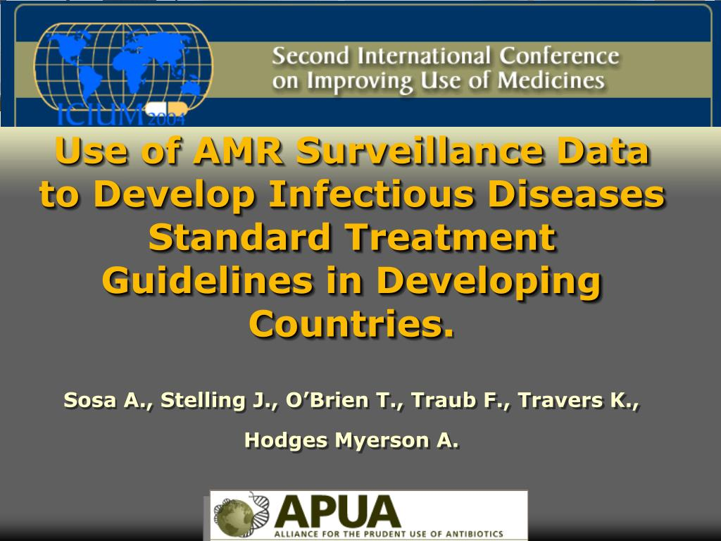 Use of AMR Surveillance Data to Develop Infectious Diseases Standard Treatment Guidelines in Developing Countries