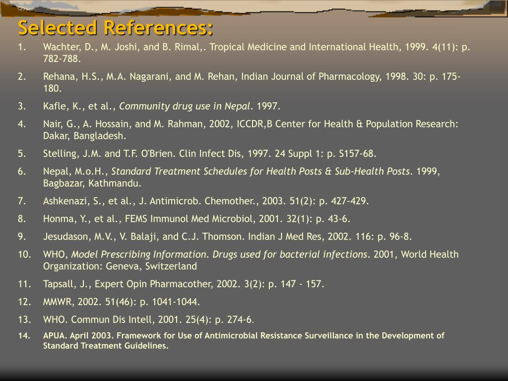 Selected References: