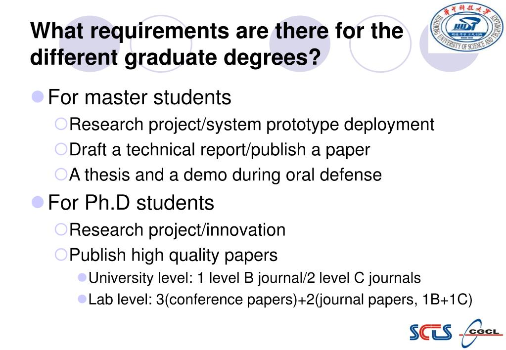 What requirements are there for the different graduate degrees?