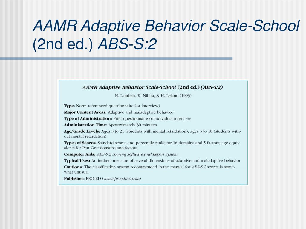 AAMR Adaptive Behavior Scale-School