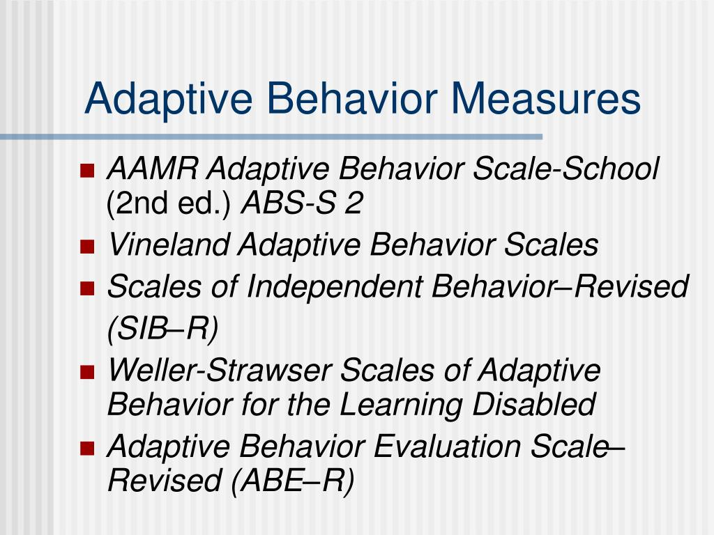 Adaptive Behavior Measures