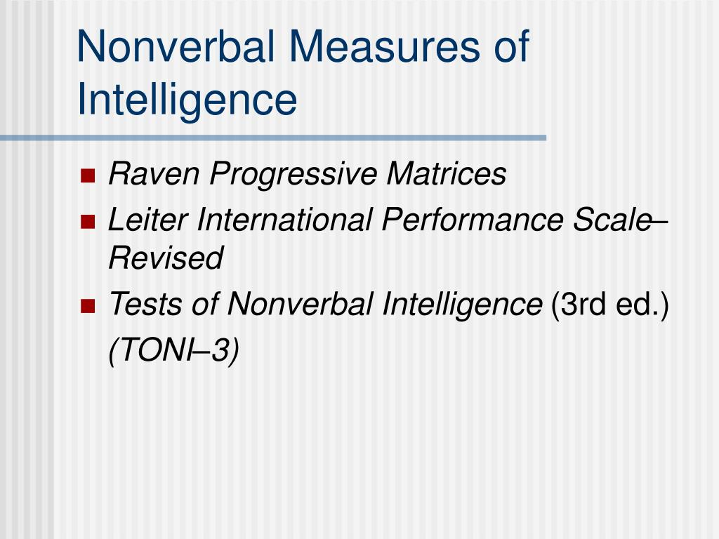 Nonverbal Measures of Intelligence