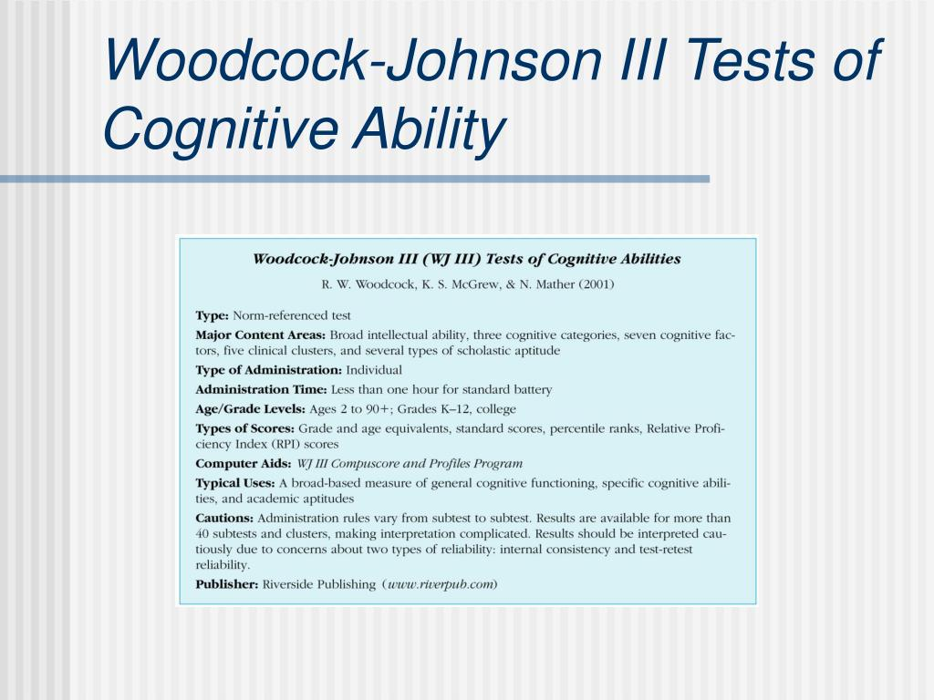 Woodcock-Johnson III Tests of Cognitive Ability