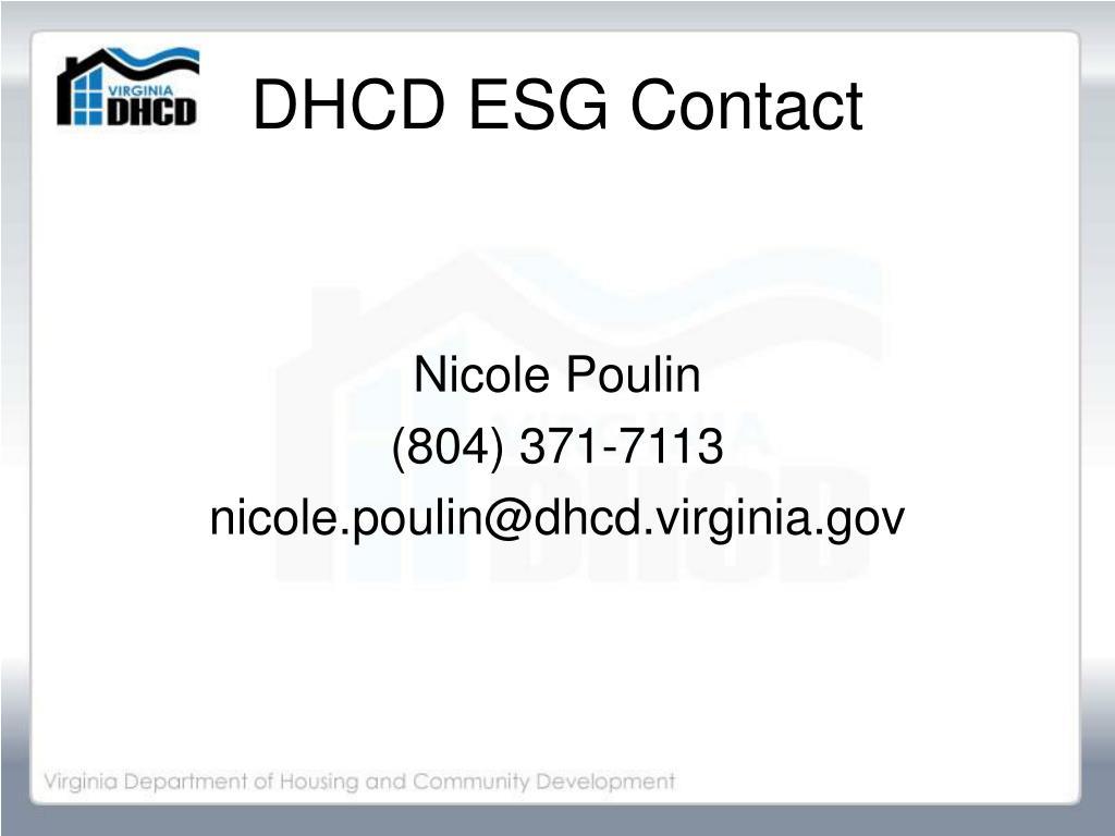 DHCD ESG Contact